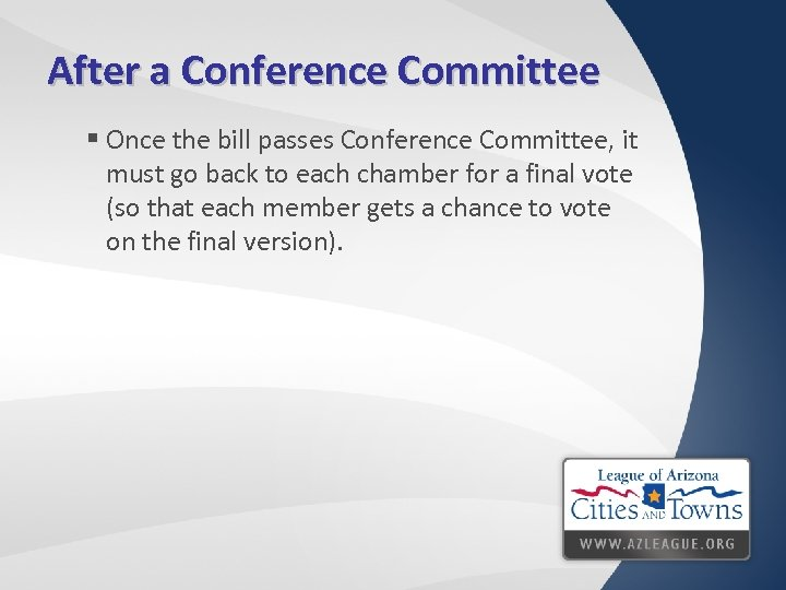 After a Conference Committee § Once the bill passes Conference Committee, it must go