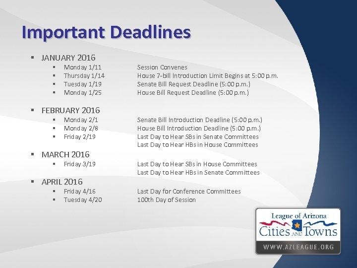 Important Deadlines § JANUARY 2016 § § Monday 1/11 Thursday 1/14 Tuesday 1/19 Monday