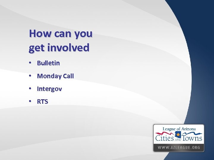 How can you get involved • Bulletin • Monday Call • Intergov • RTS