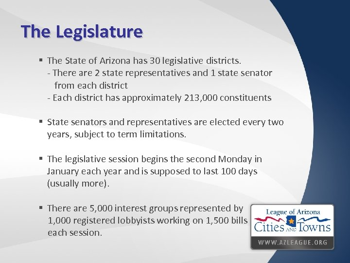 The Legislature § The State of Arizona has 30 legislative districts. - There are