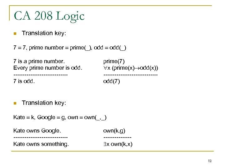 CA 208 Logic n Translation key: 7 7, prime number prime(_), odd(_) 7 is