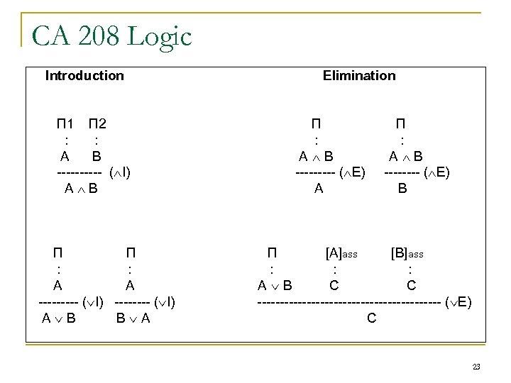 CA 208 Logic Introduction П 1 П 2 : : A B ----- (