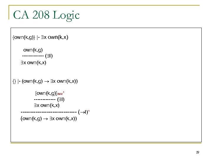 CA 208 Logic {own(k, g)} |- x own(k, x) own(k, g) ------- ( I)