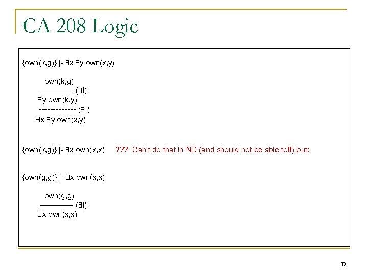 CA 208 Logic {own(k, g)} |- x y own(x, y) own(k, g) ------- (