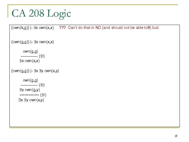CA 208 Logic {own(k, g)} |- x own(x, x) ? ? ? Can't do