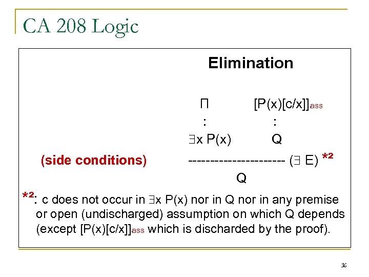 CA 208 Logic Elimination П : x P(x) (side conditions) [P(x)[c/x]]ass : Q -----------