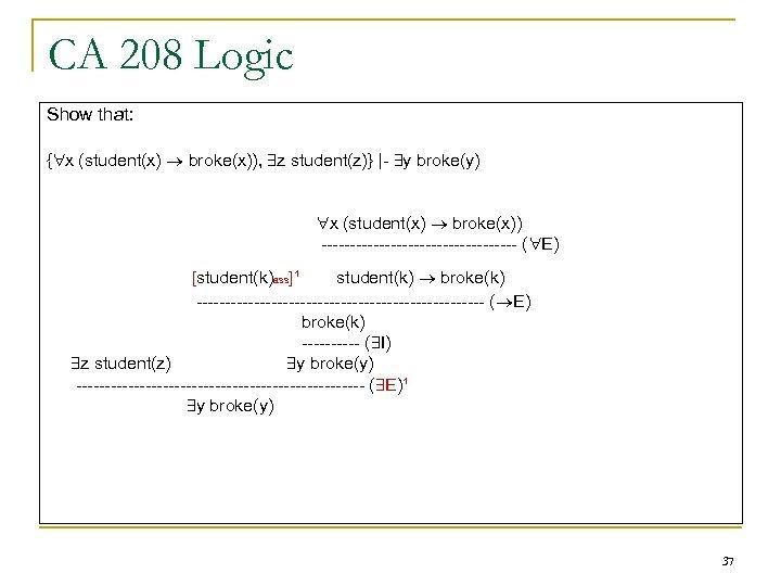 CA 208 Logic Show that: { x (student(x) broke(x)), z student(z)} |- y broke(y)