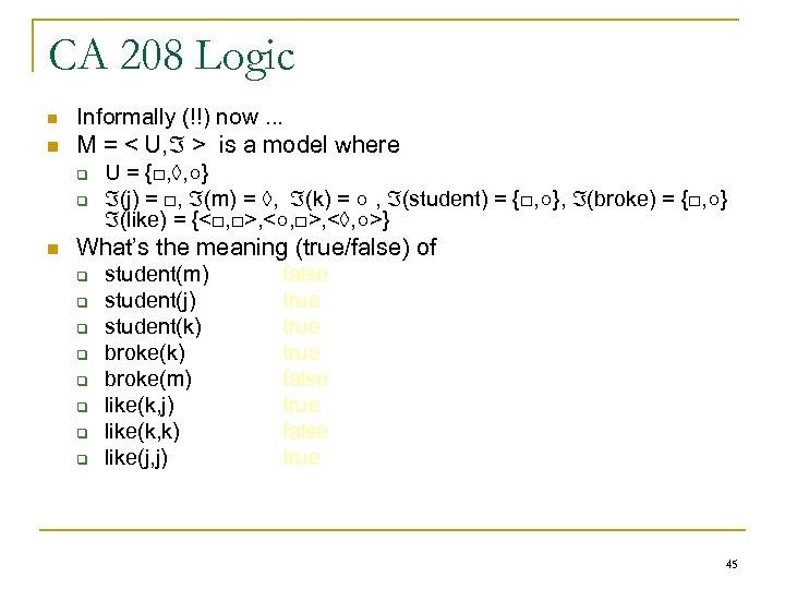 CA 208 Logic n n n Informally (!!) now. . . M = <