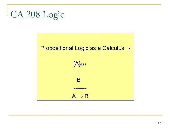 CA 208 Logic Propositional Logic as a Calculus: |[A]ass : B ------A→B 57