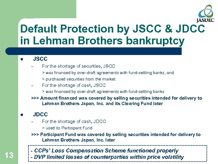 Default Protection by JSCC & JDCC in Lehman Brothers bankruptcy l JSCC – For