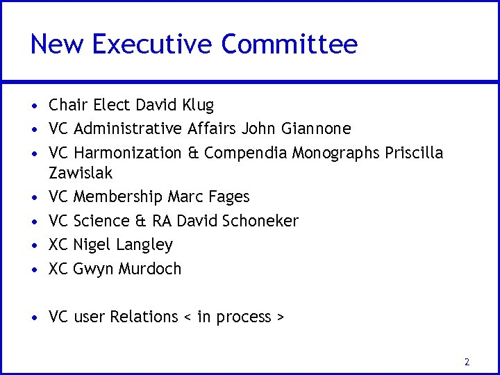 New Executive Committee • Chair Elect David Klug • VC Administrative Affairs John Giannone