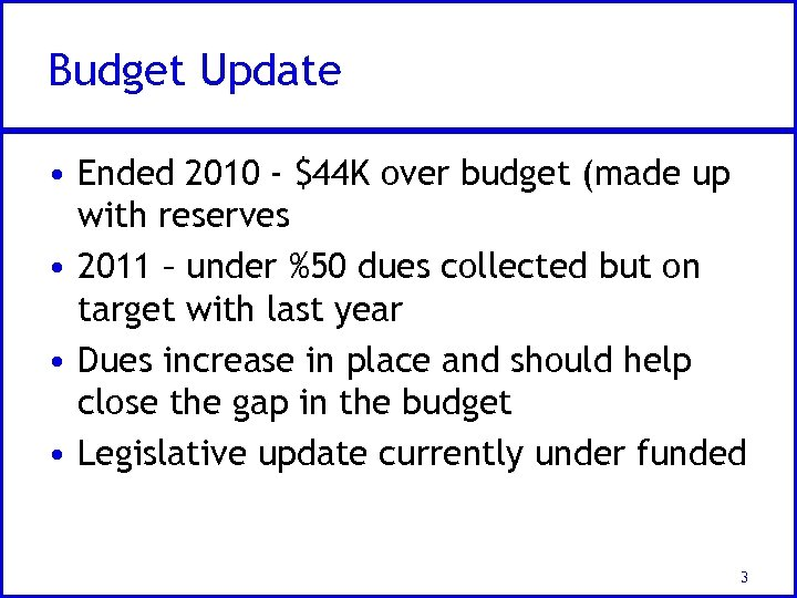 Budget Update • Ended 2010 - $44 K over budget (made up with reserves