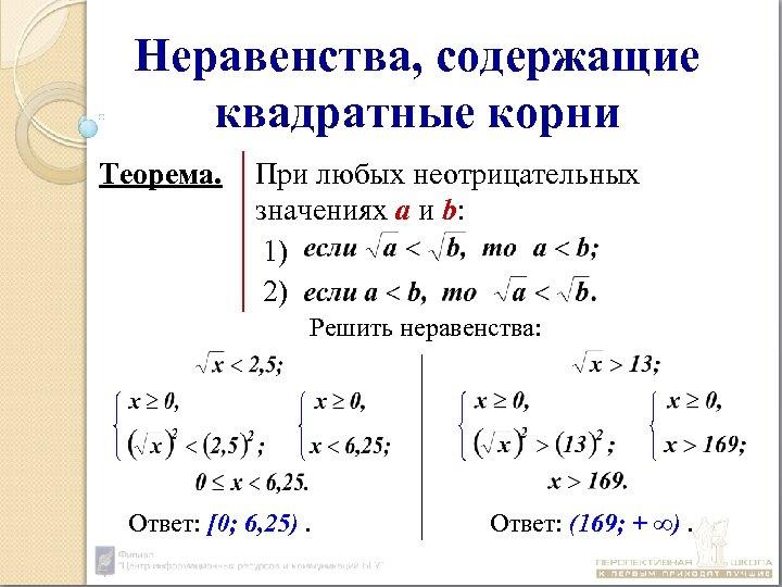 Неравенства, содержащие квадратные корни Теорема. При любых неотрицательных значениях а и b: 1) 2)