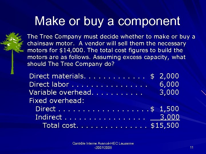 Make or buy a component The Tree Company must decide whether to make or