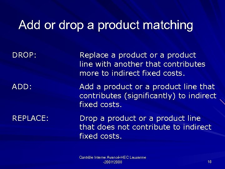 Add or drop a product matching DROP: Replace a product or a product line