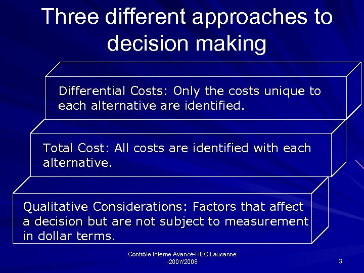 Three different approaches to decision making Differential Costs: Only the costs unique to each
