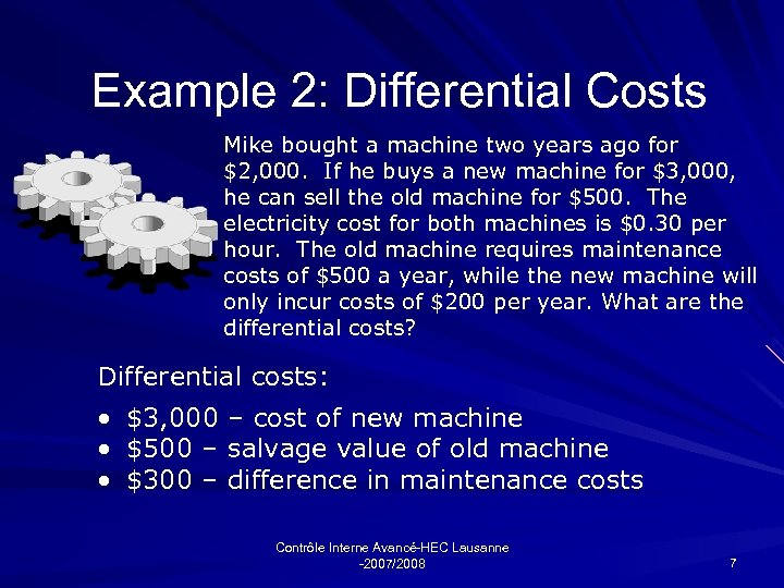 Example 2: Differential Costs Mike bought a machine two years ago for $2, 000.