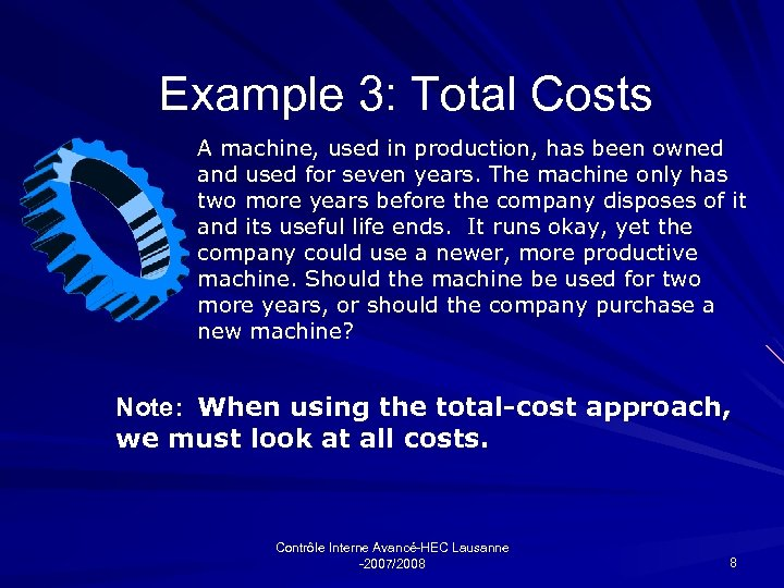 Example 3: Total Costs A machine, used in production, has been owned and used
