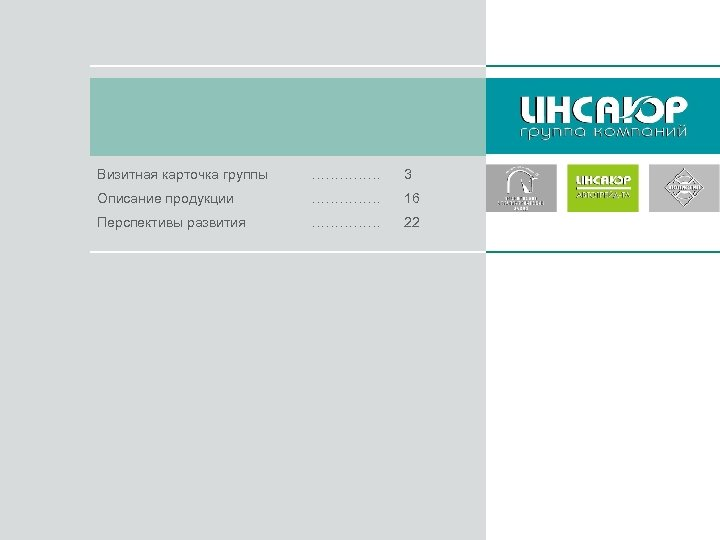 Визитная карточка группы …………… 3 Описание продукции …………… 16 Перспективы развития …………… 22