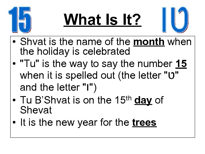 What Is It? • Shvat is the name of the month when the holiday