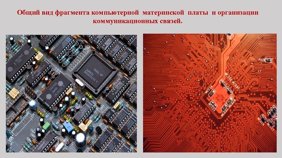 Общий вид фрагмента компьютерной материнской платы и организации коммуникационных связей.