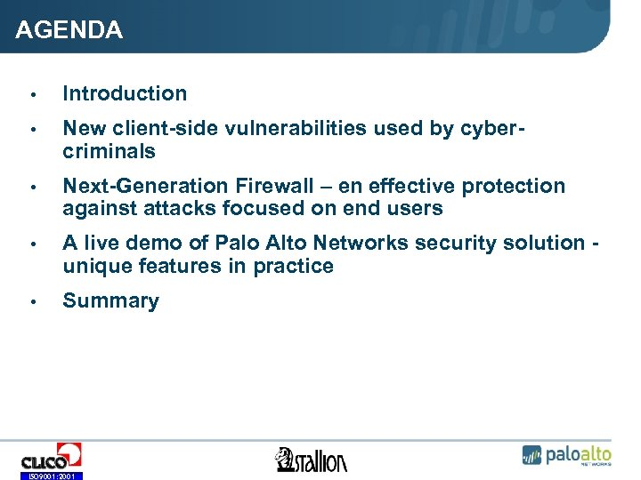 Palo Alto Networks security solution — protection against