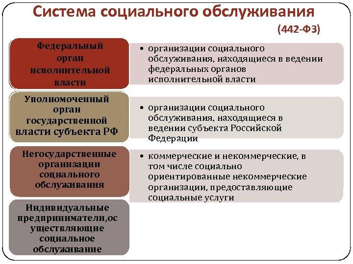 Система социального обслуживания (442 -ФЗ) Федеральный орган исполнительной власти Уполномоченный орган государственной власти субъекта