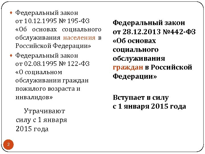 · Федеральный закон от 10. 12. 1995 № 195 -ФЗ «Об основах социального обслуживания