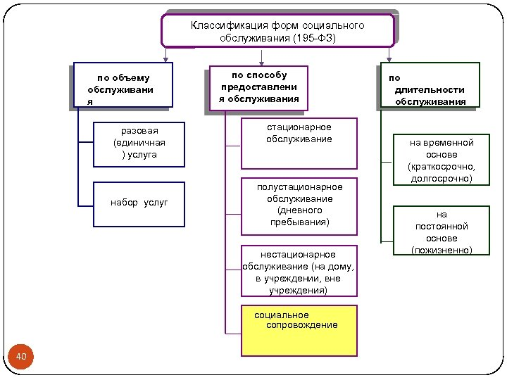 Классификация форм социального обслуживания (195 -ФЗ) по объему обслуживани я разовая (единичная ) услуга