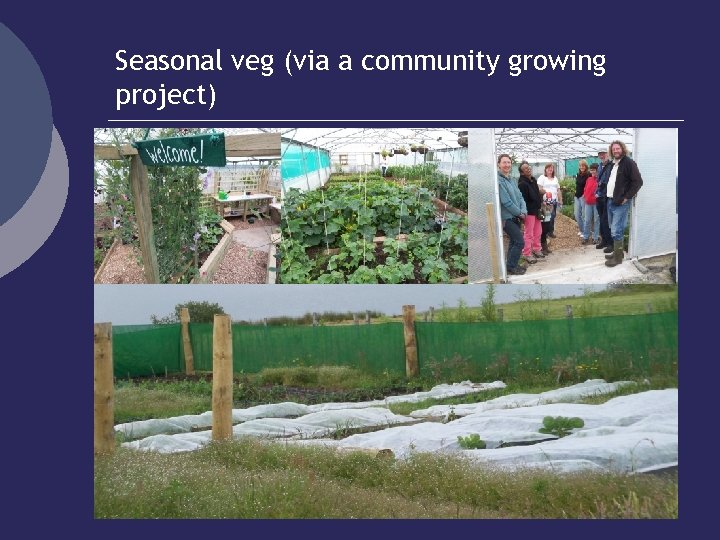 Seasonal veg (via a community growing project)