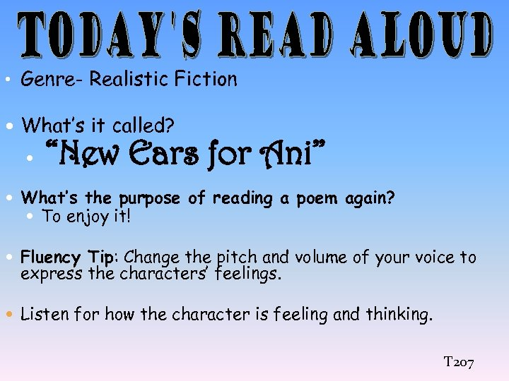 """• Genre- Realistic Fiction What's it called? """"New Ears for Ani"""" What's the"""