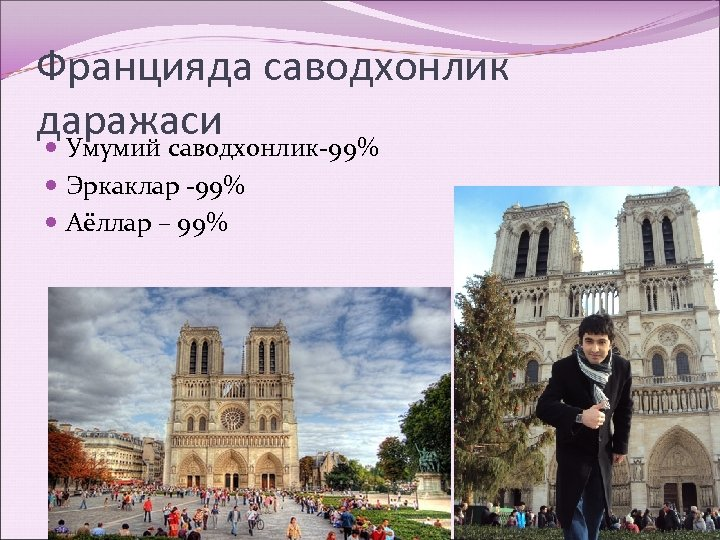 Францияда саводхонлик даражаси Умумий саводхонлик-99% Эркаклар -99% Аёллар – 99%