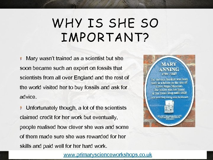 WHY IS SHE SO IMPORTANT? Mary wasn't trained as a scientist but she soon