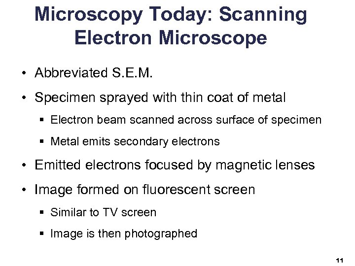 Microscopy Today: Scanning Electron Microscope • Abbreviated S. E. M. • Specimen sprayed with
