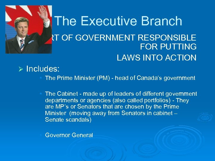The Executive Branch THE PART OF GOVERNMENT RESPONSIBLE FOR PUTTING LAWS INTO ACTION Ø