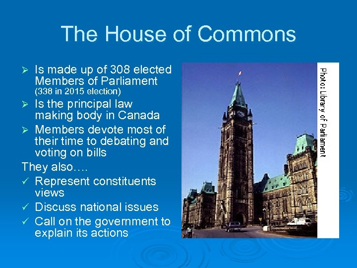 The House of Commons Ø Is made up of 308 elected Members of Parliament