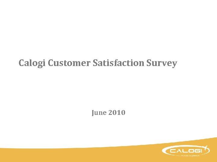 Calogi Customer Satisfaction Survey June 2010
