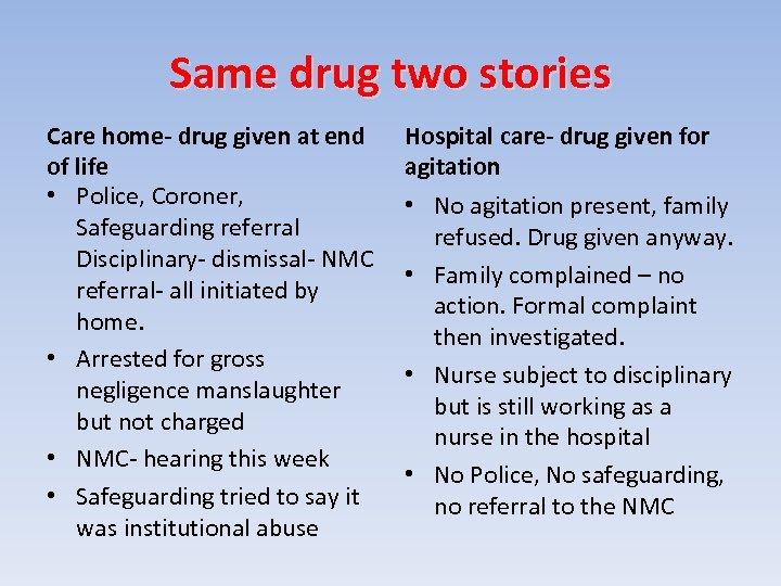Same drug two stories Care home- drug given at end of life • Police,