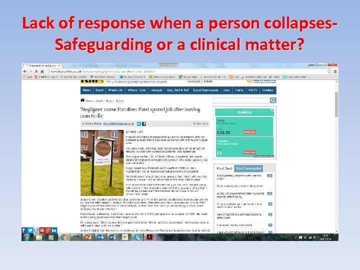 Lack of response when a person collapses. Safeguarding or a clinical matter?