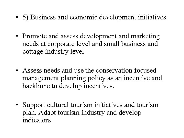 • 5) Business and economic development initiatives • Promote and assess development and