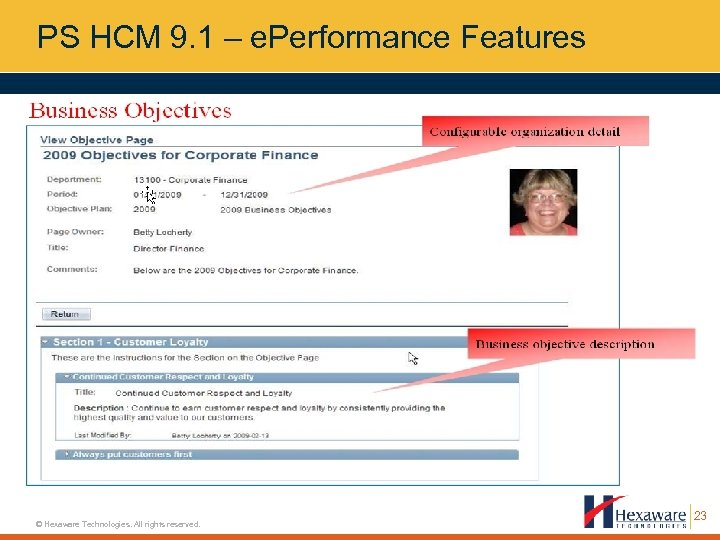 PS HCM 9. 1 – e. Performance Features © Hexaware Technologies. All rights reserved.