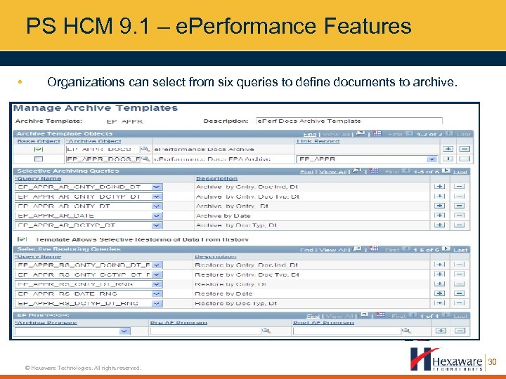 PS HCM 9. 1 – e. Performance Features • Organizations can select from six