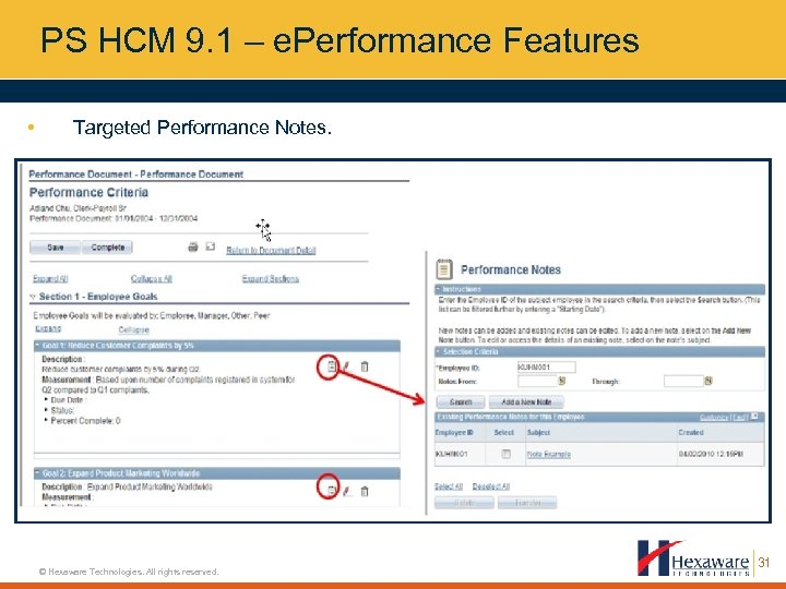 PS HCM 9. 1 – e. Performance Features • Targeted Performance Notes. © Hexaware