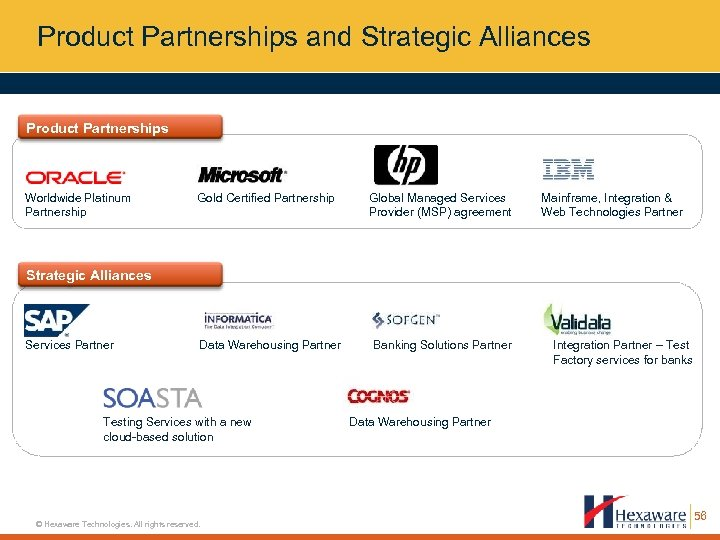 Product Partnerships and Strategic Alliances Product Partnerships Worldwide Platinum Partnership Gold Certified Partnership Global