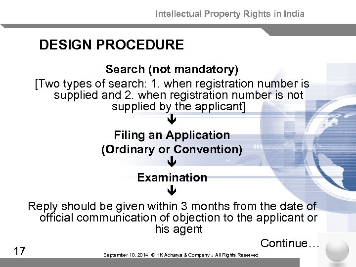 Intellectual Property Rights in India DESIGN PROCEDURE Search (not mandatory) [Two types of search: