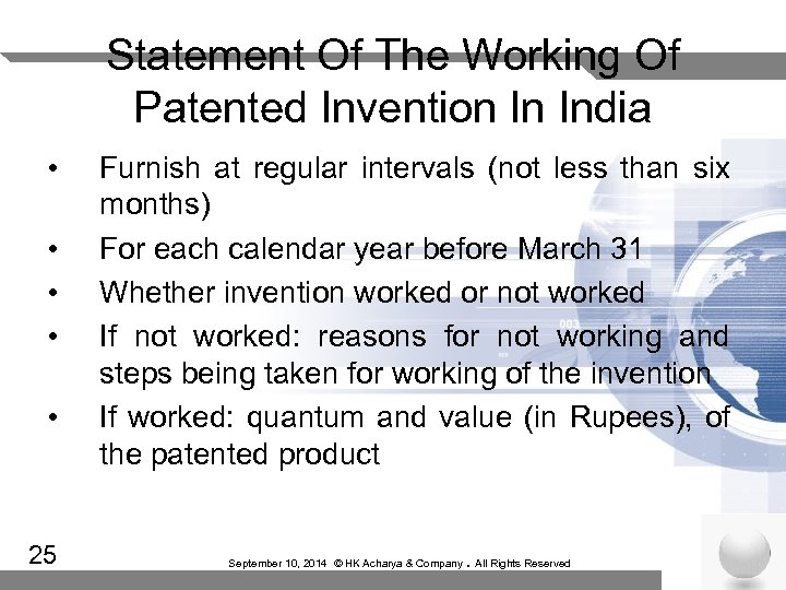 Statement Of The Working Of Patented Invention In India • • • 25 Furnish