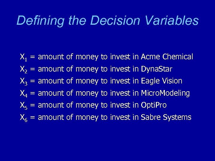 Defining the Decision Variables X 1 = amount of money to invest in Acme