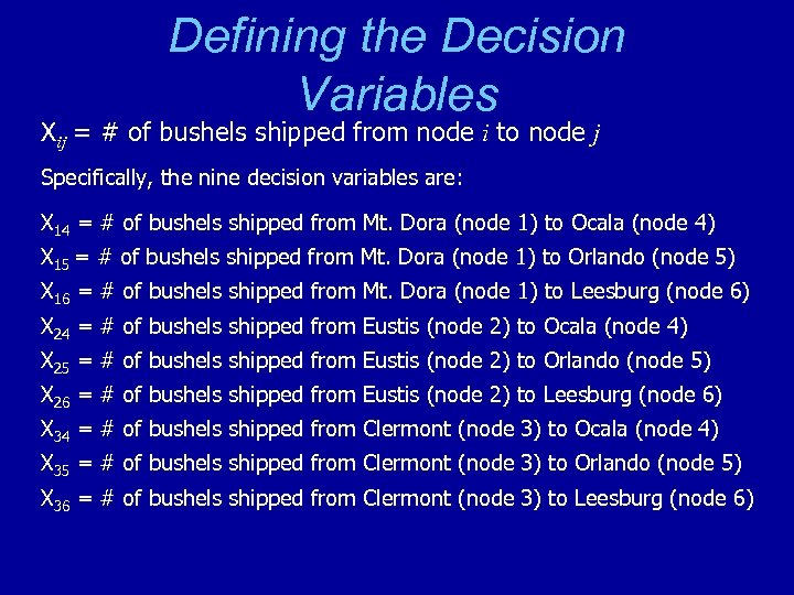 Defining the Decision Variables Xij = # of bushels shipped from node i to