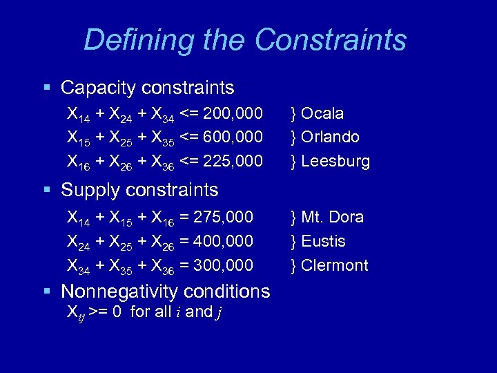 Defining the Constraints § Capacity constraints X 14 + X 24 + X 34