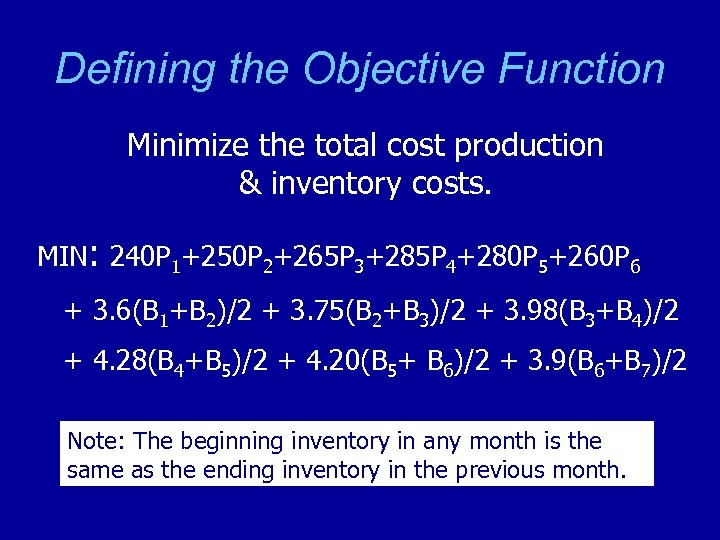 Defining the Objective Function Minimize the total cost production & inventory costs. MIN: 240